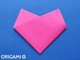 Corazón en 2 pliegues en origami