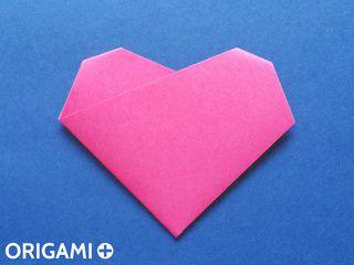 Coração em 4 dobras de origami