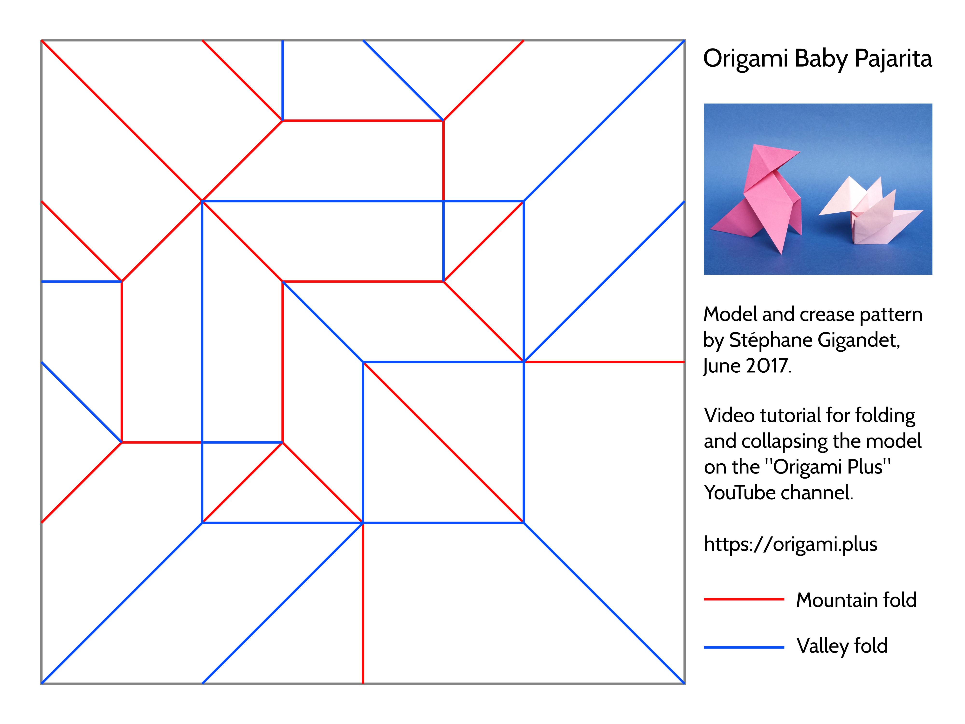 Printable Crease Pattern For The Baby Pajarita Origami Model