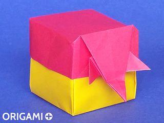 Boite Eléphant en origami