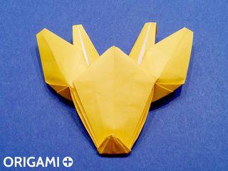 Cabeza de jirafa en origami
