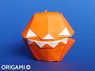 Origami Scary Halloween Pumpkin Box