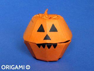 Boîte Citrouille d'Halloween en origami
