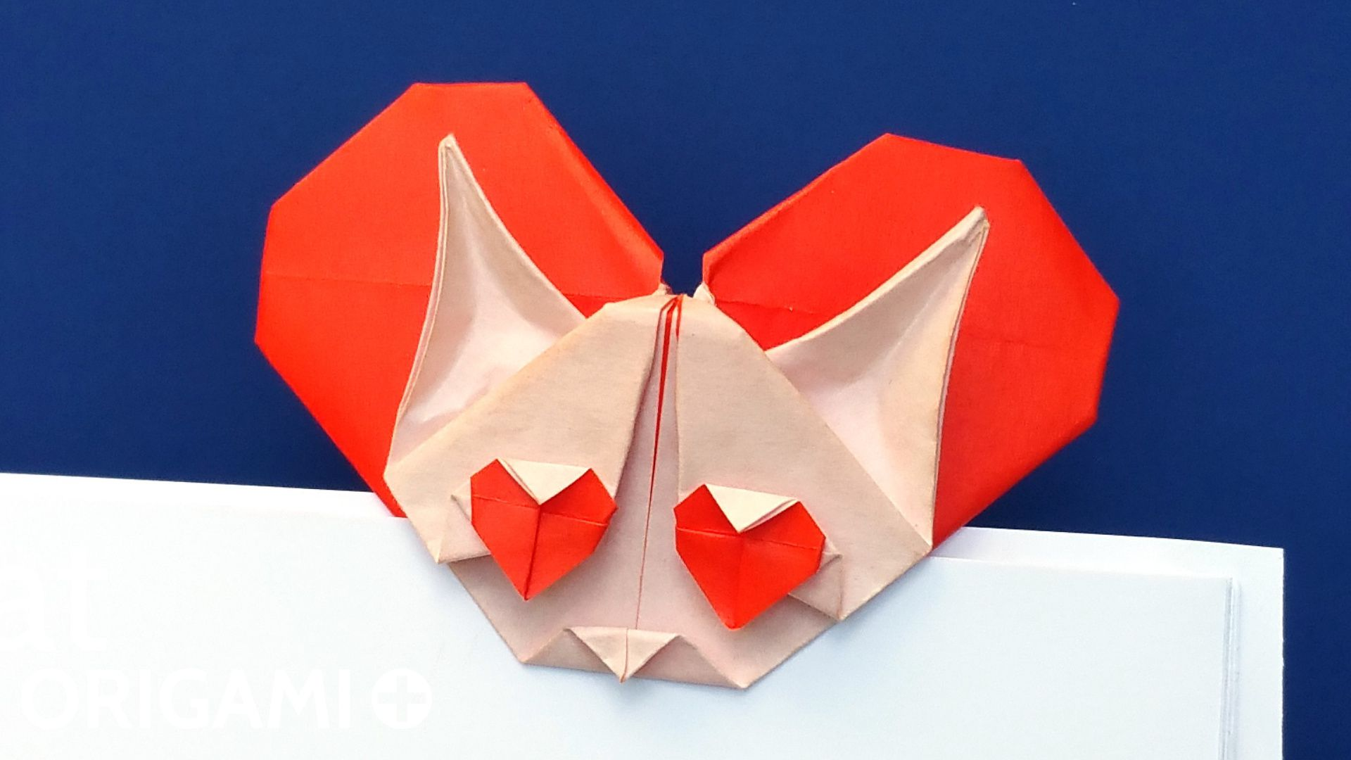 Origami Heart Cat Bookmark