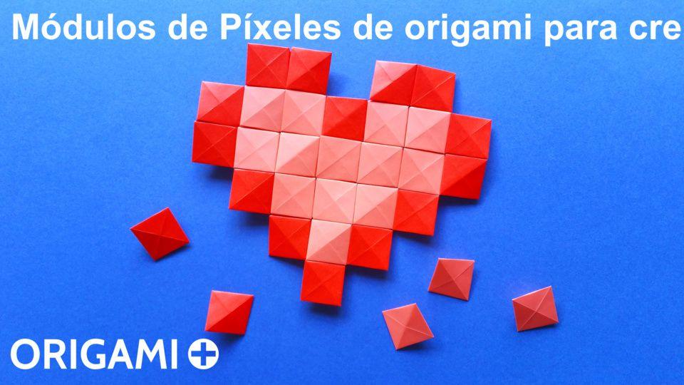 módulos de píxeles de origami para crear mosaicos en origami