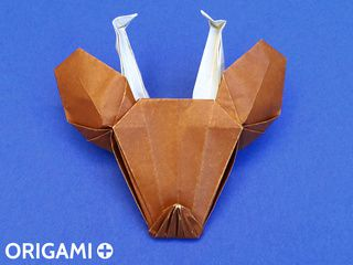Cabeza de reno en origami
