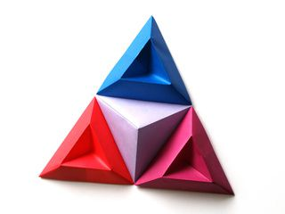 Origami Tricorne Pixels for 3D Paper Wall Art
