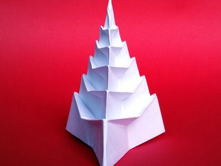 A Beautiful Origami Snow Covered Christmas Tree