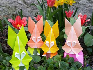 Origami Bunnies in the Garden