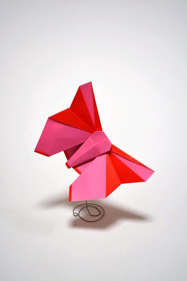 Origami butterfly with a very convenient stand, made from metal wire.
