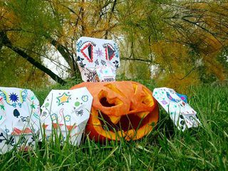 A Family of Origami Calaveras in the Garden