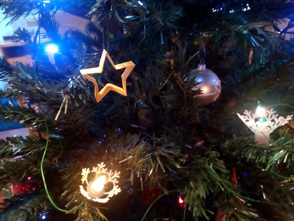A Christmas Star.Origami Christmas Star Ornament In A Christmas Tree Made By