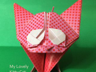 Cute red and pink dotted origami kitten