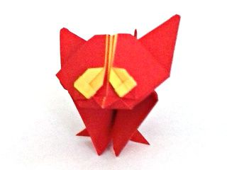 Cute red and yellow origami kitten