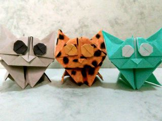 3 very cute origami kittens