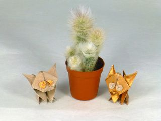 Amazing origami kittens folded with copper paper