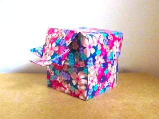 Origami Elephant Box with a beautiful flowers pattern paper