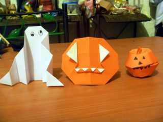 Origami Ghost, Pumpkin and Pumpkin Box for Halloween