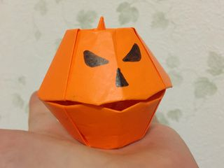 Japanese Origami Halloween Pumpkin Box