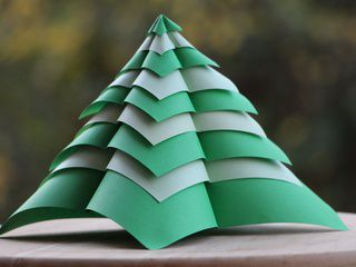 A tall origami Christmas Tree