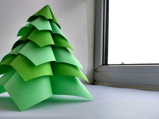 Origami Christmas Tree leaning towards the light
