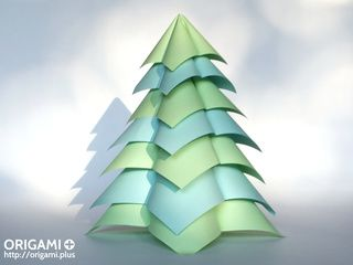 Green and Blue Origami Fir Tree and Shadow