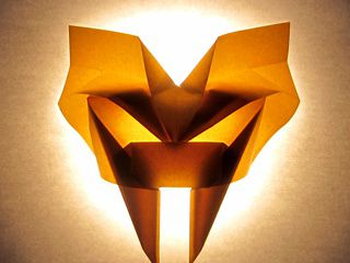 Saber-toothed tiger mask, backlit origami