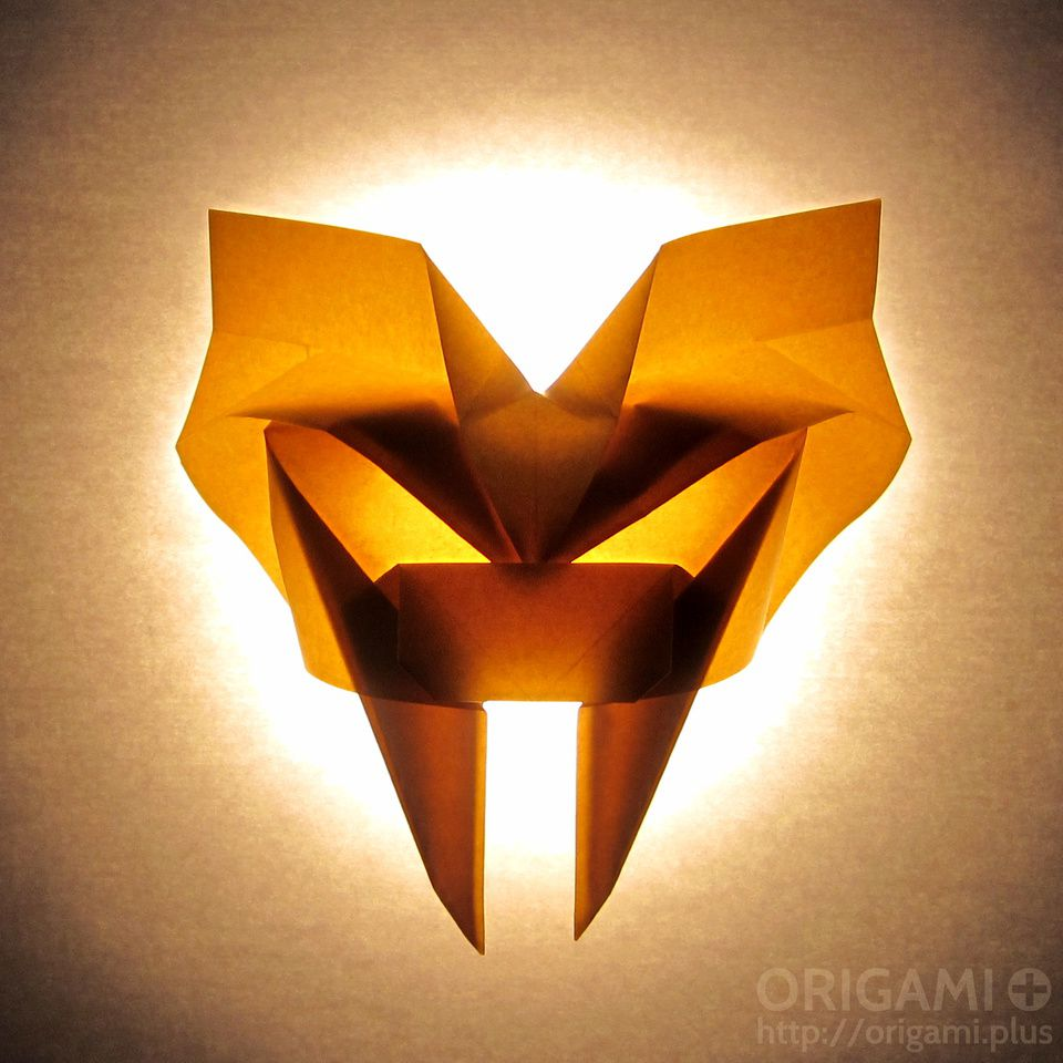 Saber Toothed Tiger Mask Backlit Origami
