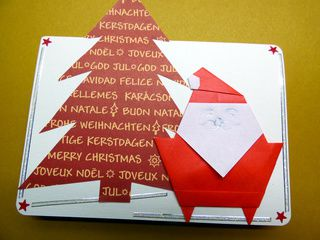 Merry Christmas Card with Origami Santa Claus