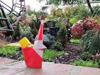 Origami Smiling Santa Claus at Phipps' Garden Railroad in Pittsburgh