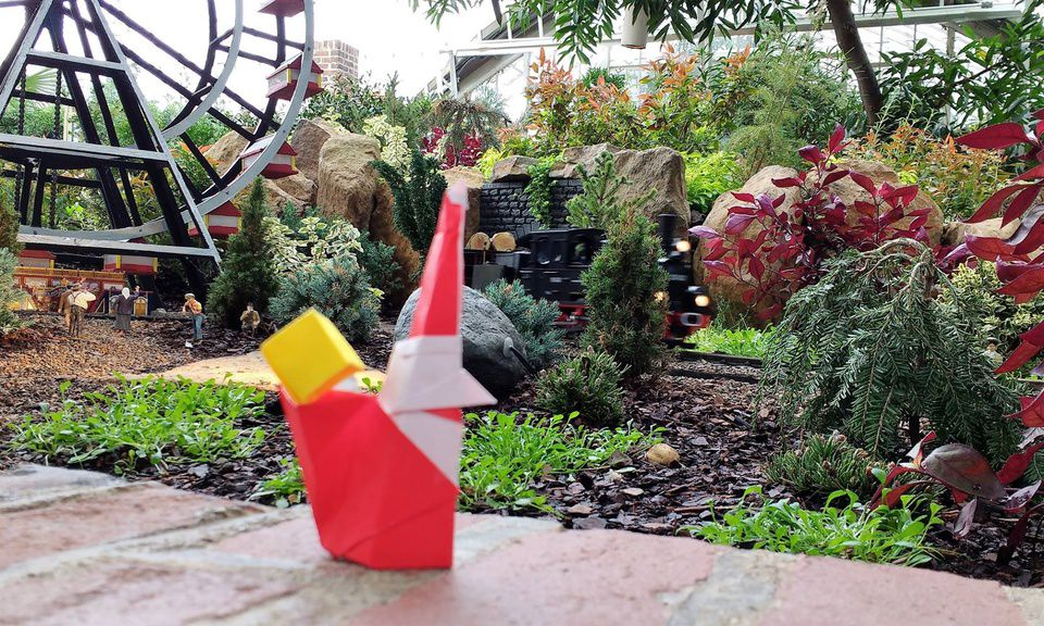 Origami Santa has a big smile as he visits Phipps' Garden Railroad!