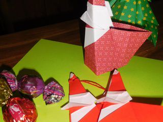 Origami Smiling Santa Claus in California