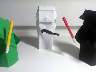 Origami Star Wars Characters: Yoda, Darth Vader and a Stormtrooper