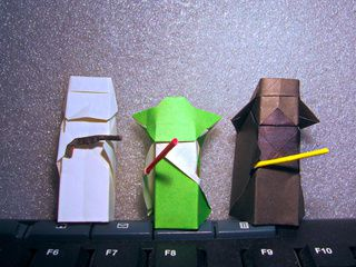 Origami Yoda, Darth Vader and Stormtrooper