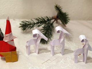 Origami Santa Claus, sleigh and reindeers