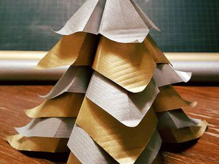 Silver and Gold Origami Christmas Tree