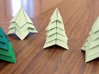 Forest of origami Christmas trees