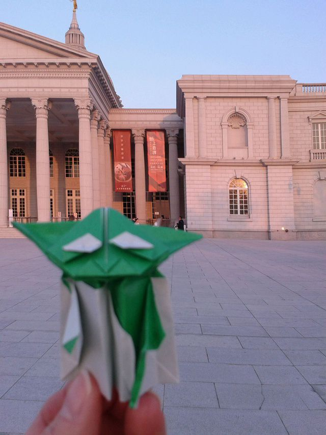 Origami Yoda in front of the Chimei Museum in Tainan City in Taiwan.