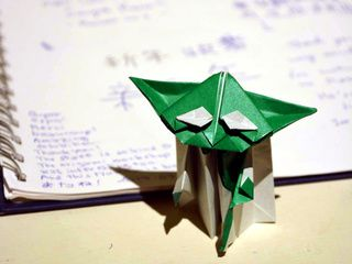 Origami Yoda visits the Origami Universe exhibition at the Chimei Museum in Taiwan