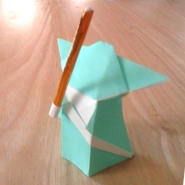 Origami Yoda and lightsaber.