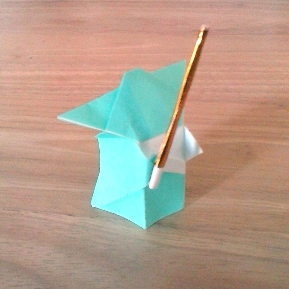 Origami Yoda With Gold Lightsaber